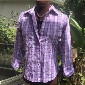 FoxCroft fitted textured purple button up shirt